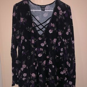 Torrid Cross Long Sleeve Babydoll Floral Top